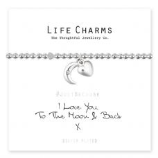 "Life Charms Bracelet - "" LOVE YOU TO THE MOON AND BACK "" - Beautifully Gift Boxed"